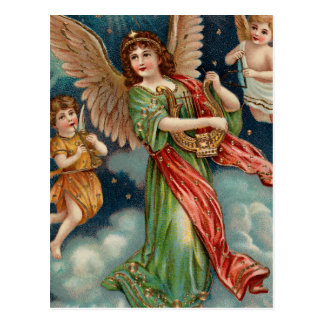 Vintage Angel With Harp and Two Cherubs Postcard