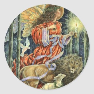 Vintage Angel with Lion and Lamb Christmas   Sticker