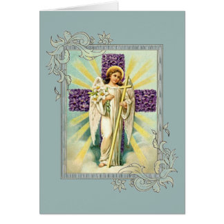 Vintage Angel With Purple Cross Card