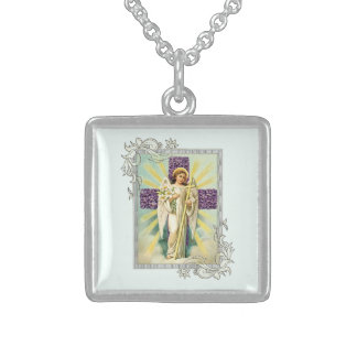 Vintage Angel With Purple Cross Sterling Silver Necklace
