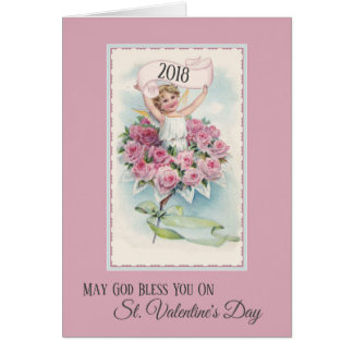 Vintage Angel with Roses Valentines Day Card