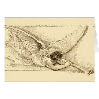 Vintage Angel With Trumpet Monotone Greeting Card