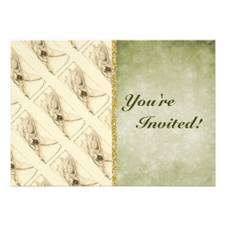 Vintage Angel With Trumpet Monotone Cards