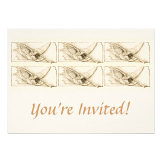 Vintage Angel With Trumpet Monotone Personalized Invite