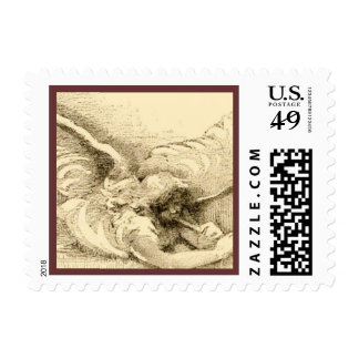 Vintage Angel With Trumpet Monotone Postage