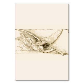 Vintage Angel With Trumpet Monotone Table Card
