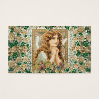 Vintage Angel with Yellow Roses Business Card