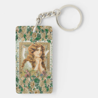 Vintage Angel with Yellow Roses Keychain