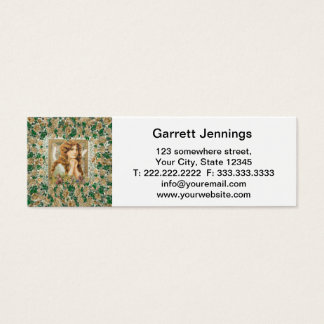 Vintage Angel with Yellow Roses Mini Business Card