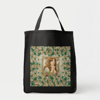 Vintage Angel with Yellow Roses Tote Bag