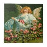 Vintage, ángel y rosas rosados azulejo