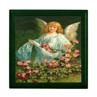 Vintage, ángel y rosas rosados caja de recuerdo
