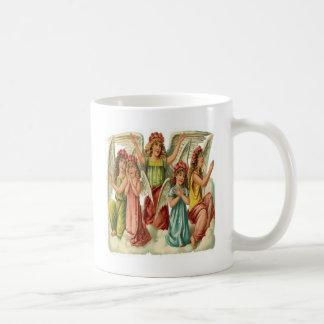Vintage, ángeles lindos que ruegan taza
