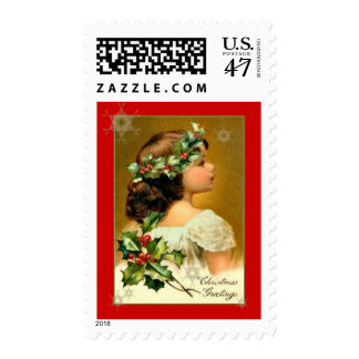 Vintage Angelic Girl Green Holly Gold Snowflakes Postage