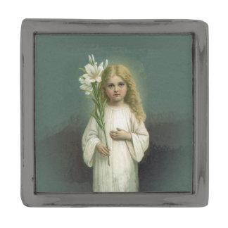 Vintage Angelic Girl White Dress Lily Flowers Gunmetal Finish Lapel Pin