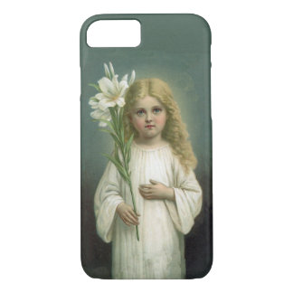Vintage Angelic Girl White Dress Lily Flowers iPhone 7 Case