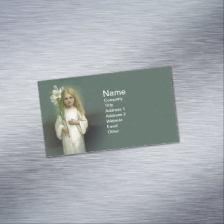 Vintage Angelic Girl White Dress Lily Flowers Magnetic Business Card