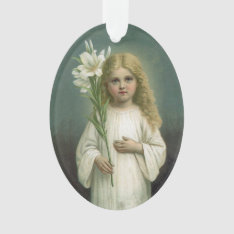Vintage Angelic Girl White Dress Lily Flowers Ornament at Zazzle