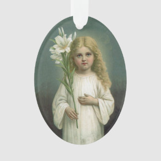 Vintage Angelic Girl White Dress Lily Flowers Ornament