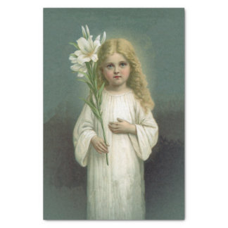 Vintage Angelic Girl White Dress Lily Flowers Tissue Paper