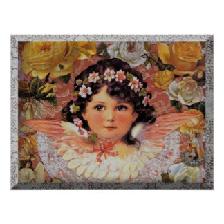 Vintage Angels and Roses Poster