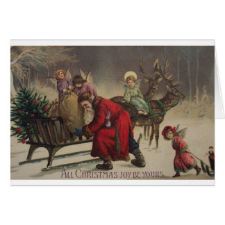 Vintage Angels And Santa Christmas Card