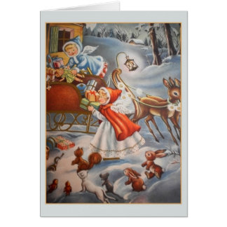Vintage Angels and Toy Sleigh Christmas Card