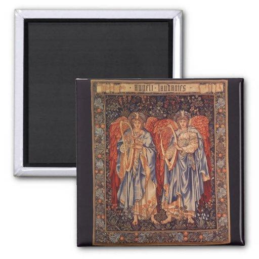 Vintage Angels, Angeli Laudantes by Burne Jones 2 Inch Square Magnet