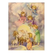 Vintage Angels Around Baby Jesus Postcard