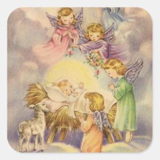 Vintage Angels Around Baby Jesus Square Sticker