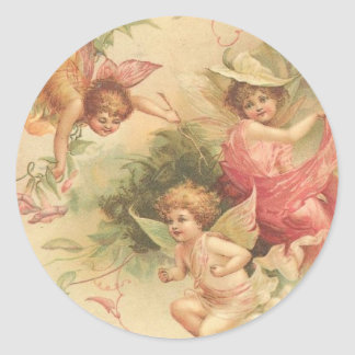 vintage angels classic round sticker