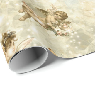 Vintage Angels Glittering Gold Wrapping Paper