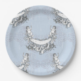 Vintage Angels In Sky Blue Floral Paper Plate