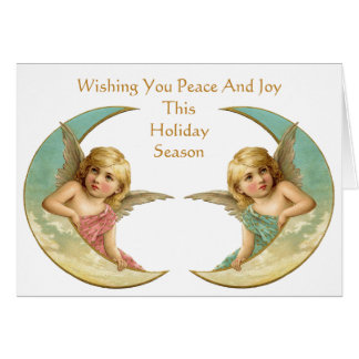 Vintage Angels on Crescent Moon Peace and Joy Greeting Cards