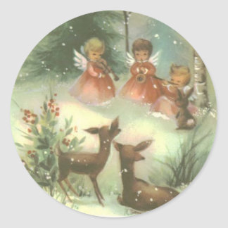 Vintage Angels Playing Music With Deer Classic Round Sticker