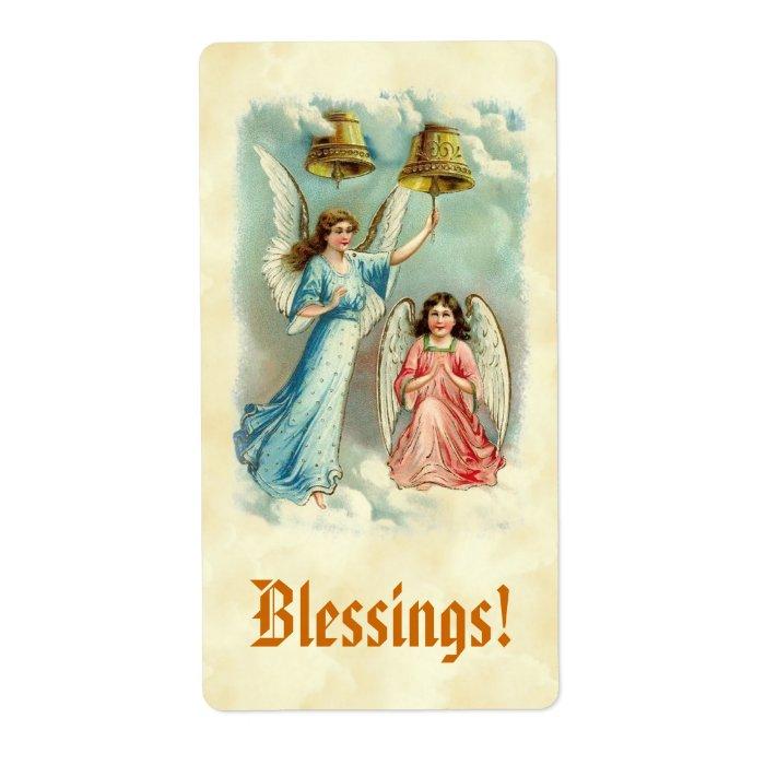 Vintage Angels Ringing Bells Clouds Blessings Label