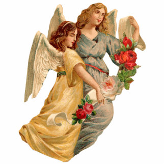 Vintage Angels & Roses Christmas Ornament Cut Out
