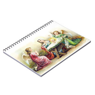 Vintage Angels Surrounding Baby Jesus and Mary Spiral Notebook