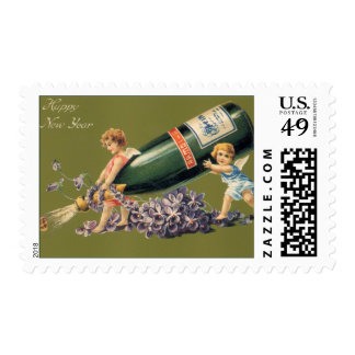 Vintage Angels with Champagne; A Happy New Year Postage