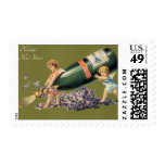 Vintage Angels with Champagne; A Happy New Year Postage Stamp