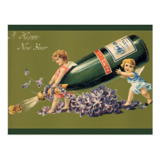 Vintage Angels with Champagne; A Happy New Year Postcard