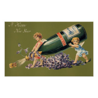 Vintage Angels with Champagne; A Happy New Year Posters