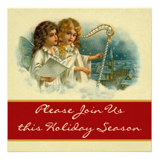 Vintage Angels with Harp Holiday Party Invite