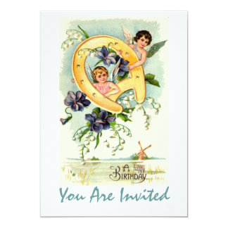 Vintage Angels With Horse Shoe Card