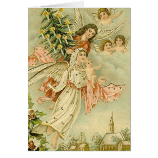 Vintage Angels with Tree Greeting Cards