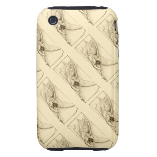Vintage Angels With Trumpet Pattern Monotone iPhone 3 Tough Case
