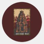 Vintage Angkor Wat Etiqueta Redonda