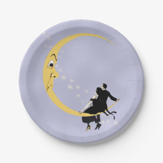 Vintage Angry Crescent Moon Face Stars Couple 7 Inch Paper Plate