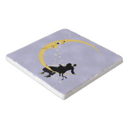 Vintage Angry Crescent Moon Face Stars Couple Trivet