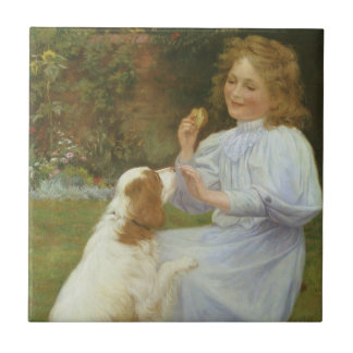 Vintage Animal Art, Pleasures of Hope by Gore Small Square Tile